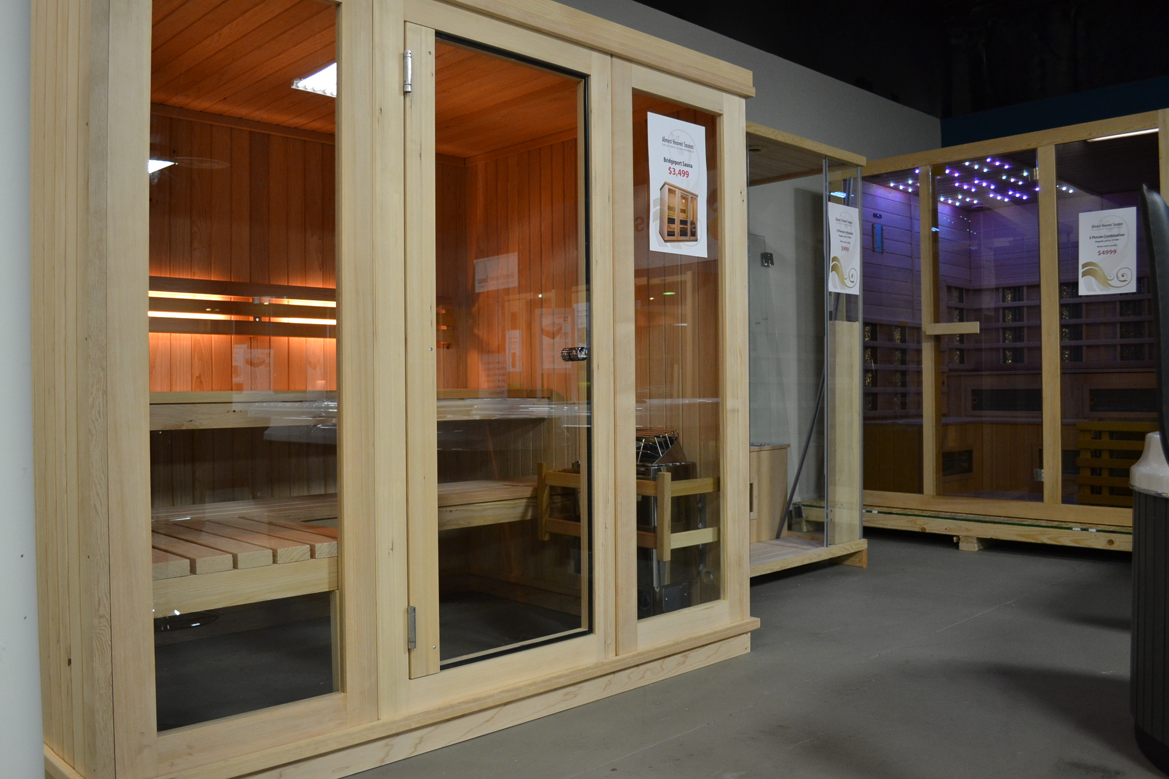 Passion Spas USA Factory Showroom saunas on display