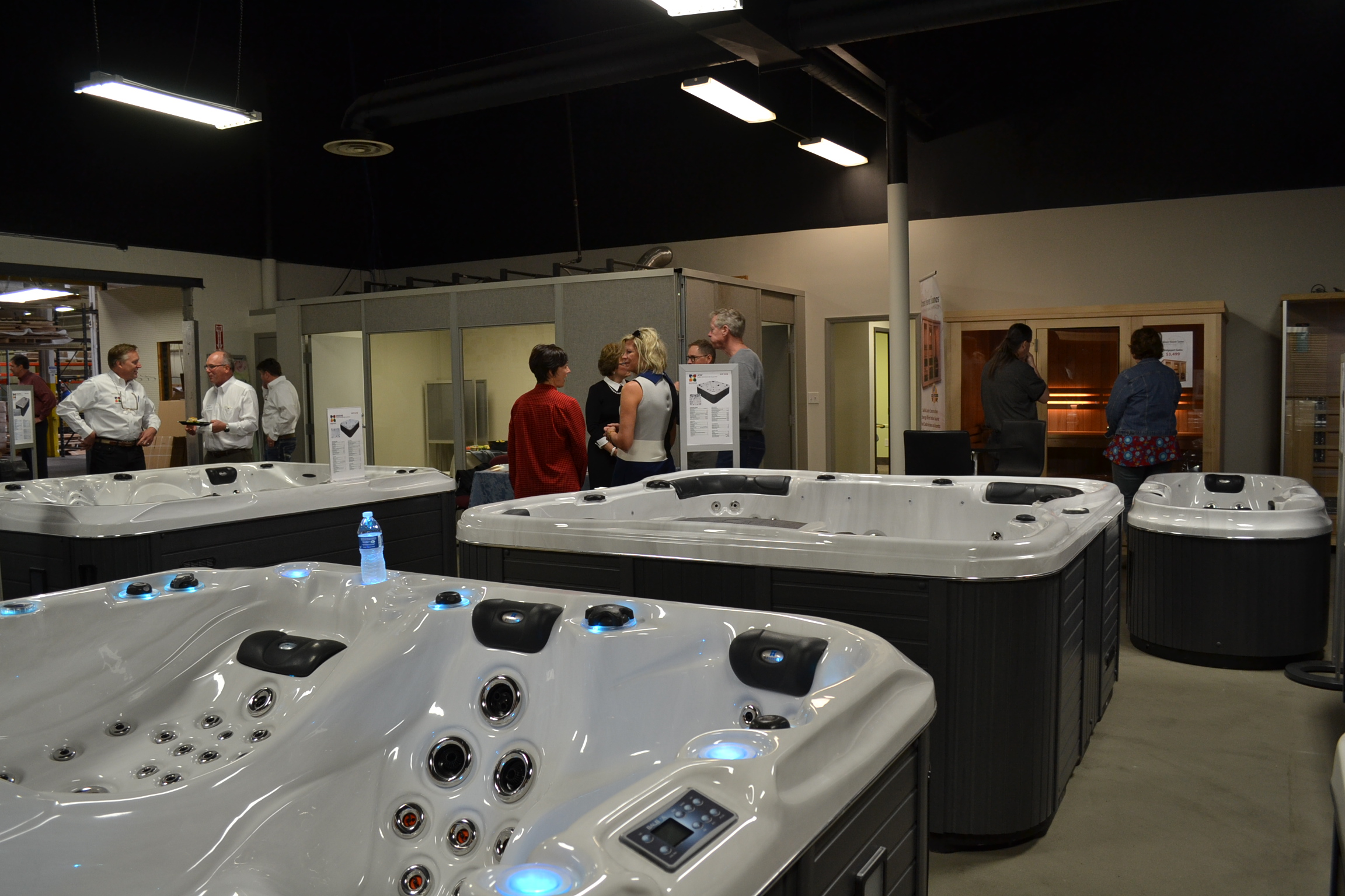 Passion Spas USA Factory Showroom preview event visitors